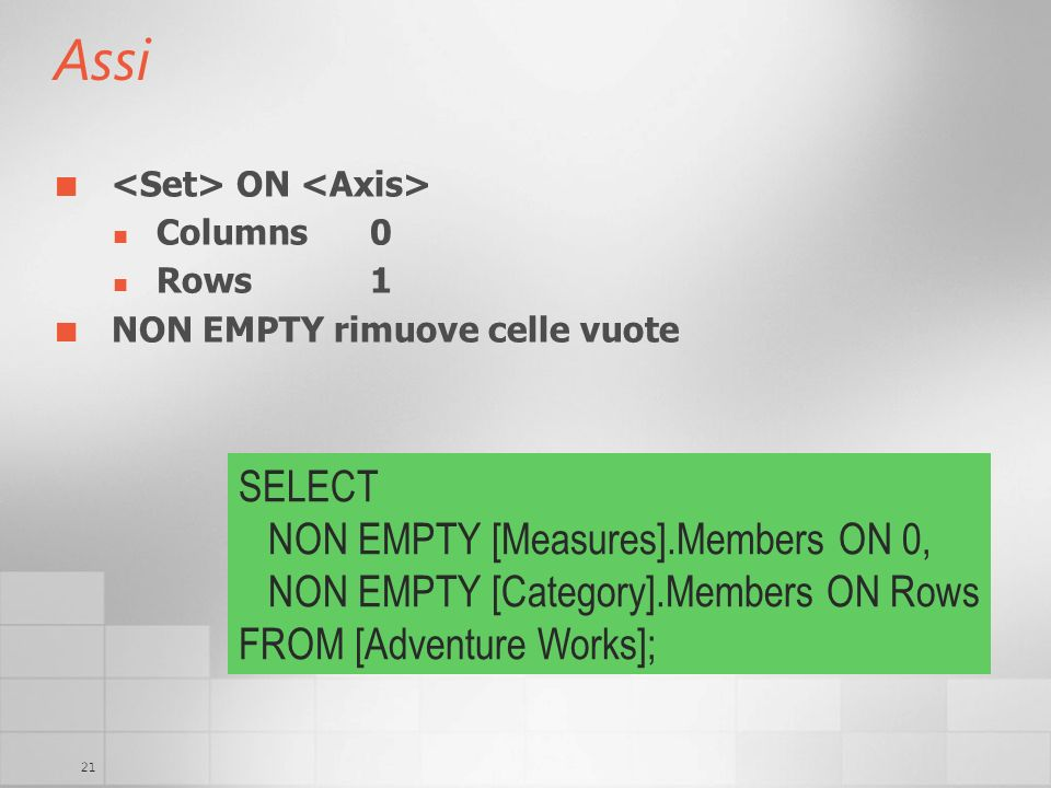 Assi SELECT NON EMPTY [Measures].Members ON 0,